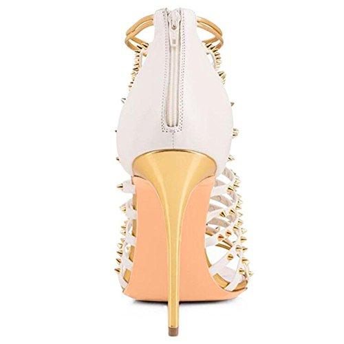 Tacones De Boda Zapatos L Con Las Remaches altos CóModas Mujeres YC Yellow Sandalias De 15xqw5UZz