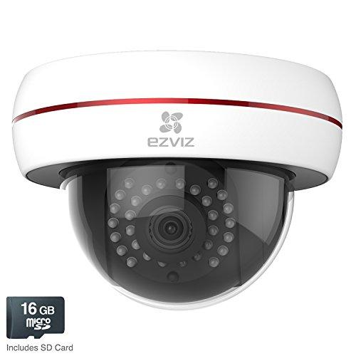 EZVIZ Husky Dome HD 1080p Outdoor Wi-Fi Video Security Camera, 16GB MicroSD, Works with Alexa