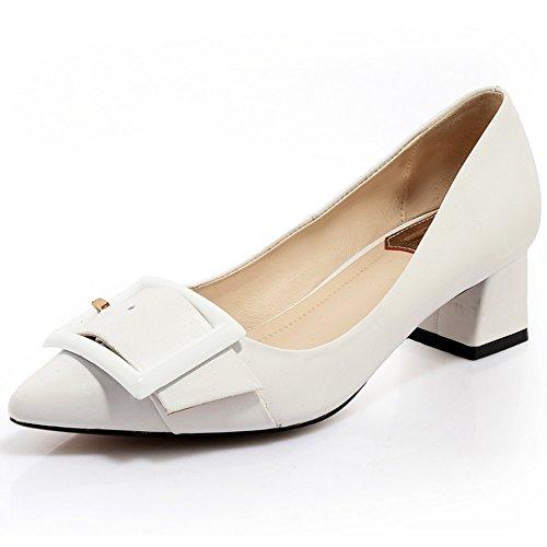 Nine Seven Cuero Puntiagudos Tacones de Vestir de Tacón Grueso con la Hebilla para Mujer blanco
