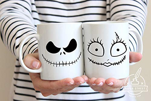 Halloween Mug, Nightmare Before Christmas, Couples Mug, Jack Sally, Halloween, Wife Gift Idea, His and Hers, Christmas Mugs, -