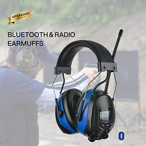 PROTEAR Bluetooth Noise Reduction Wireless Earmuffs AM FM Digital Radio with Rechargeable Lithium Battery, NRR 25dB Professional Ear Hearing Protection Electronic Headphones with a Carrying Case by PROTEAR (Image #6)