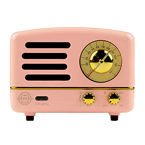 Muzen Portable Wireless High Definition Audio FM Radio & Bluetooth Speaker, Metal Pink, Travel Case Included - Classic Vintage Retro Design