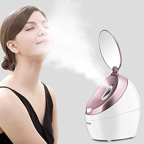Facial Steamer Nano Ionic Hot Steam For Face Personal Sauna SPA Quality Moisturizing Pores Cleanse Clear Blackheads Acne Impurities Skin Cares Mini Home Humidifier (Rose Gold)