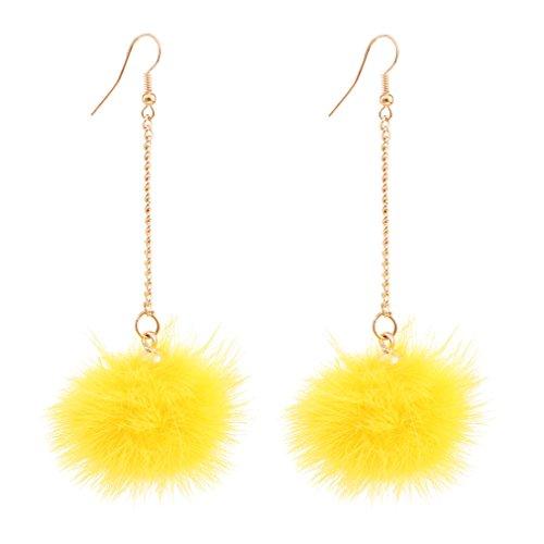 Boderier Cute Rabbit Fur Pompom Drop Earring Gold Chain Shoulder Duster Earring Ear Drop for Women Girls (Yellow) Chain Yellow Earrings