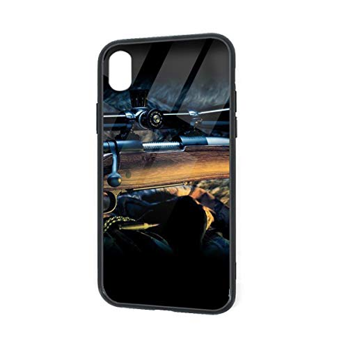 Diemeouk Cool Sniper Rifle iPhone XR TPU Glass Case,Anti-Scratch Shock Absorption Cover Case,Full-Body Protective Cover Case for Boys Girls