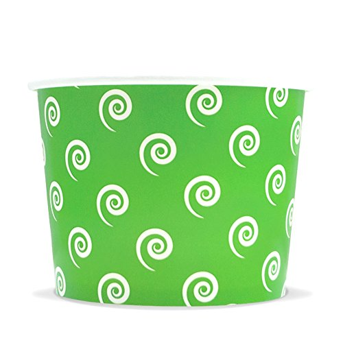 Green Easter Paper Ice Cream Cups - 12 oz Swirls and Twirls Dessert Bowls - Perfect For Your Yummy Foods! Many Colors & Sizes - Frozen Dessert Supplies - Fast - Yogurt Yummy