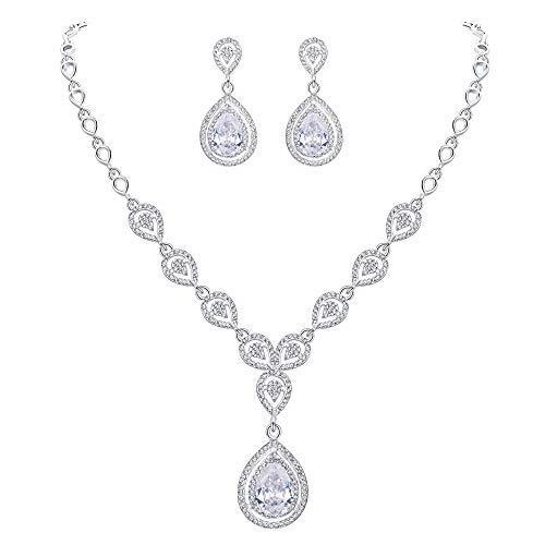 (EVER FAITH Women's Crystal CZ Elegant Bride Bridesmaid Teardrop Necklace Earrings Set Clear Silver-Tone)