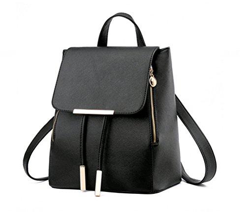 Casual Womens Backpack (NAGU PU Leather Backpack,Casual Daypack Schoolbag for Women Girls Ladies,Backpack Travel bag Black)