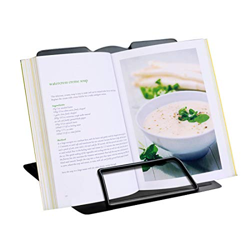 GeLive Metal Cookbook Holder, Adjustable Recipe Stand, Foldable Book Rest, Tablet, iPad, Catalog Recipe Holder for Kitchen Counter, Reading Hands Free (Black)