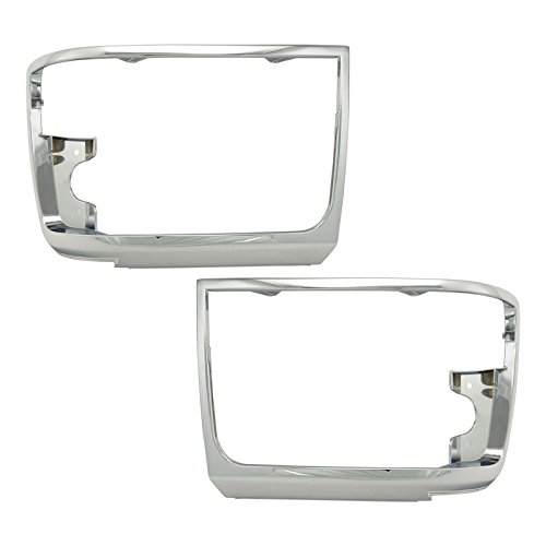 Trim Bezel Pickup Chrome Headlight (Chrome Headlights Headlamps Trim Bezel Pair Set for Bronco F150 Pickup Truck)