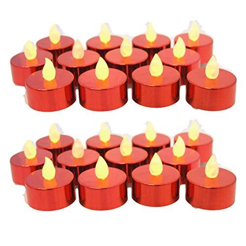 BANBERRY DESIGNS Red LED Tea Lights - Set