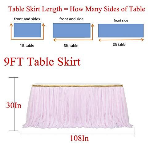 9ft Gold/Pink Tulle Table Skirt Tutu Table Skirts Wedding Birthday Baby Shower Party Table Skirting by HB HBB MAGIC (Image #3)'