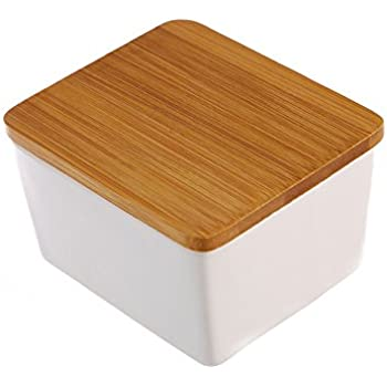 Dash of Bleu Countertop Ceramic Salt Box with Bamboo Lid  sc 1 st  Amazon.com & Amazon.com - Dash of Bleu Countertop Ceramic Salt Box with Bamboo Lid -