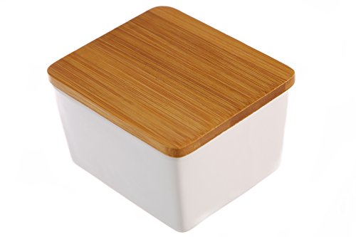 - Dash of Bleu Countertop Ceramic Salt Box with Bamboo Lid