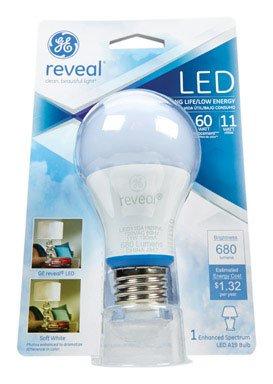 GE Lighting 63180 Reveal LED 11-Watt (60-watt Replacement), 800-Lumen A19 Bulb with Medium Base, 1-Pack
