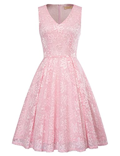 Kate Kasin Sleeveless V Neck Lace Cocktail Dress For Juniors Size M Pink