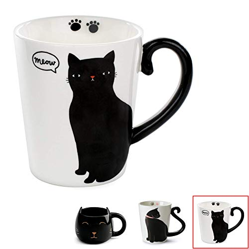 Cute Cat Mug for Coffee or Tea: Ceramic Cup for Cat Lovers with Black and White Kitty and Tail Shaped Handle - Unique 11 Oz Accessories Mugs Make Best Presents for Pet Mom or Dad, Coworker and More - ()