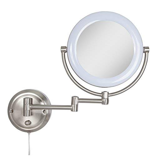 Zadro Dual-Sided Surround Light Swivel Wall Mount Mirror with 1X & 10X -