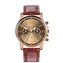 Auwer Watches, Lady Women's Roman Numerals Faux Leather Analog Quartz Women Wrist Watch (K)