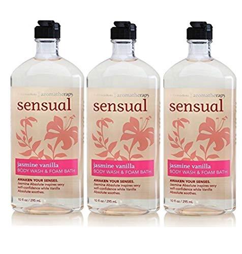 Lot of 3 Bath & Body Works Aromatherapy Sensual Jasmine & Vanilla Body Wash & Foam Bath (Jamsine & Vanilla) ()