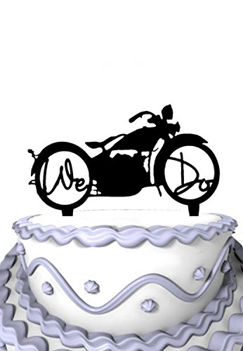 Meijiafei Davidson Motorcycle with We Do in the wheels Custom Cake Topper