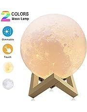 Impresión Lámpara de luna en 3D Cargador USB 2 colores Lámpara de luna conmutada y control táctil Brillo con puerto de carga USB Hermoso regalo para niños y novia