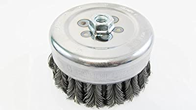 "PFERD 82725 Combitwist Power Knot Wire Cup Brush with External Nut, Threaded Hole, Carbon Steel Bristles, 6"" Diameter, 0.023"" Wire Size, 5/8""-11 Thread, 6000 Maximum RPM, 36 Knot"