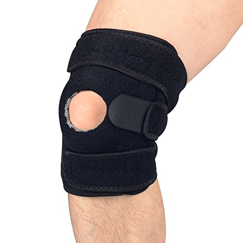 UncleHu Knee Brace Support for Sports, Open-Patella Stabilizer with Adjustable Strapping & Extra-Thick Breathable Neoprene Sleeve, Relieves ACL, LCL, MCL, Arthritis, Meniscus Tear, Tendonitis (Wavy Round Tip Black Nylon)