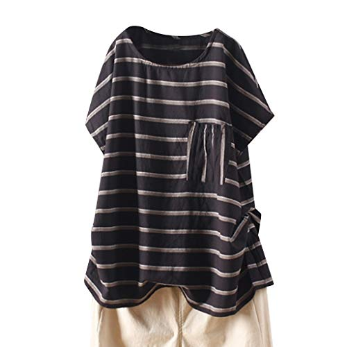 ALLYOUNG Women's T-Shirt Blouse Loose Pocket Casual Striped Short Sleeve Tops Shirts Summer New 2019 (Black, XXL)