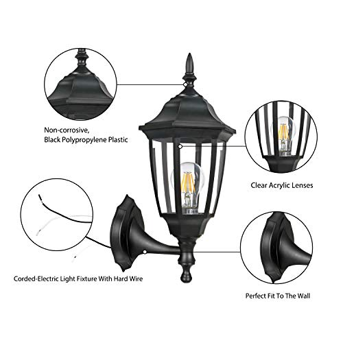 FUDESY 2-Pack Outdoor Wall Lanterns,Corded-Electric 12W Plastic LED Exterior Wall Lights,Waterproof Retro Black Porch Light Fixture Wall Mount for Garage,Yard,Front Door,Deck,FDS341B2 by FUDESY (Image #2)