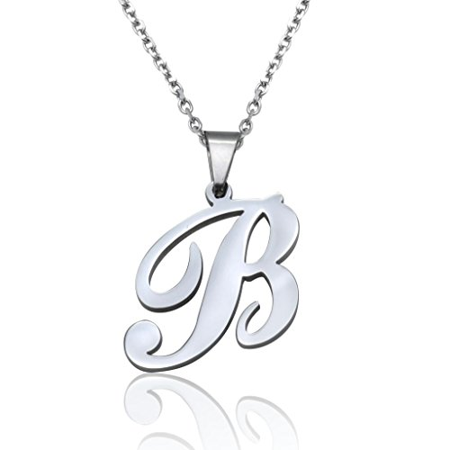 FUNRUN Womens Mens Stainless Steel Initial Letter Pendant Necklace,Letter B
