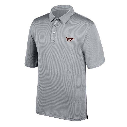 - J America NCAA Men's Virginia Tech Hokies Yarn Dye Striped Team Polo Shirt, X-Large, Cement