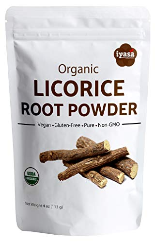 (Organic Licorice Root Powder (Mulethi) Glycyrrhiza Glabra, Trial Pack of 4 Oz/112 Gm, Soothes Sore Throat,Candy Flavoring agent, Superfood, Resealable Pouch of 4 oz )