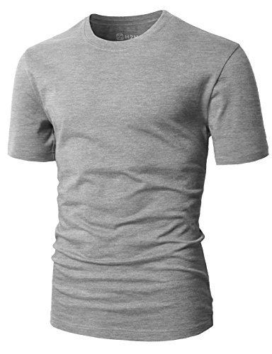 H2H Men's Cozy Casual Outfit Item Round Neck Cotton Blended T-Shirt Gray US XS/Asia S (CMTTS0198)