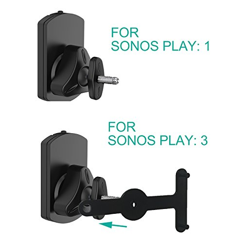 WALI SONOS Speaker Wall Mount Brackets for SONOS Play 1 and Play 3 Multiple Adjustments, Hold up to 22lbs, (SWM001-2), 2 Packs,Black by WALI (Image #4)