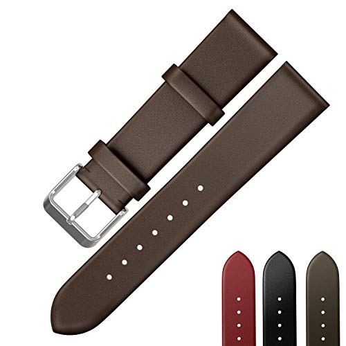 Clip Wireless Solutions Leather (Emibele 20mm Universal Watch Band, Premium Genuine Leather with Stainless Steel Buckle Adjustable Replacement Band for 20mm Sport Strap, Dark Brown)