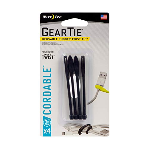 Nite Ize Gear Tie Cordable, The Orginal Reusable Rubber Twist Tie with Stretch-Loop for Cord Management + Storage, 3-Inch, Black, 4 Pack, Made in The USA