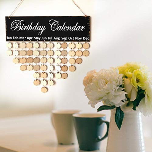 villeur Wooden Sign Board Wall Hanging Family Plaque Birthday Reminder Calendar Desk Calendars (Wooden Wall)