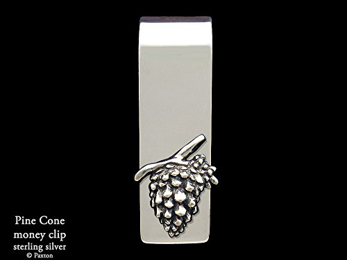 Pine Cone Money Clip in Solid Sterling Silver Hand Carved, Cast & Fabricated by Paxton by Paxton Jewelry