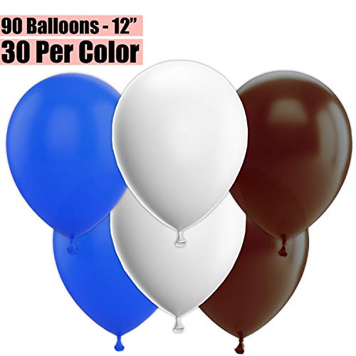 12 Inch Party Balloons, 90 Count - Royal Blue + White + Brown - 30 Per Color. Helium Quality Bulk Latex Balloons In 3 Assorted Colors - For Birthdays, Holidays, Celebrations, and More!! (Baby Blue And Chocolate Brown Baby Shower)