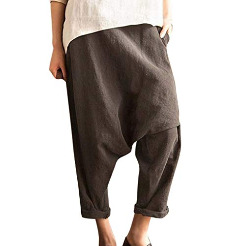 JOFOW Harem Pants Womens Plus Size Cotton Linen Casual Solid High Waist Comfy Loose Fashion Pajamas Baggy Saggy Crop Trousers (4XL,Dark Gray) ()