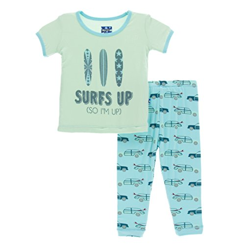 Kickee Pants Little Boys Print Short Sleeve Pajama Set, Shining Sea Woody, 4T