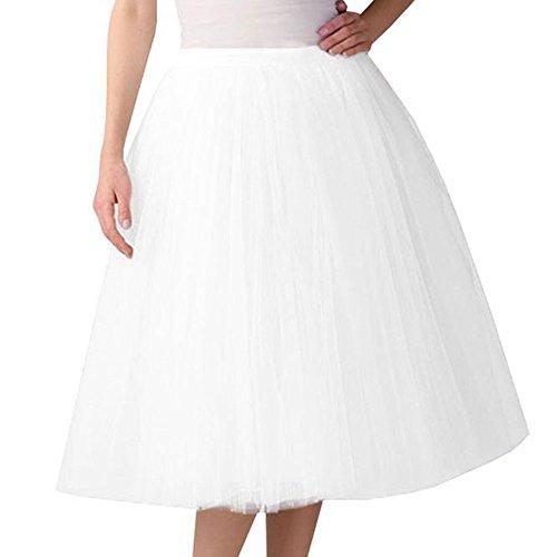 Womens Elasticity Pleated A Line Street Skirt Gauze Knee Length Dress Adult Tutu Dancing Skirt (one Size, White)]()