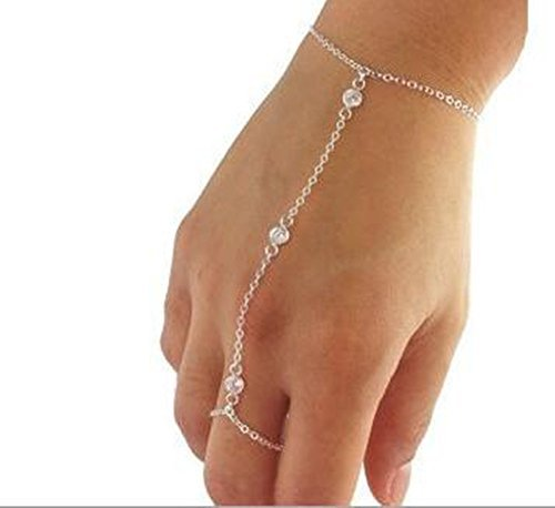 Ring Silver Chain (Candy Clover Handmade Multi Chain Crystal Bead Bracelet Slave Finger Ring Hand Harness Bohemian Boho Vintage Fashion (Silver))