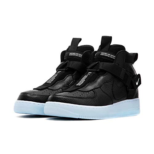 Nike Men's Air Force 1 Utility MID Black/Half Blue/White AQ9758-001 (Size: 12) (Mid Size Force 1 Air Nike 12)