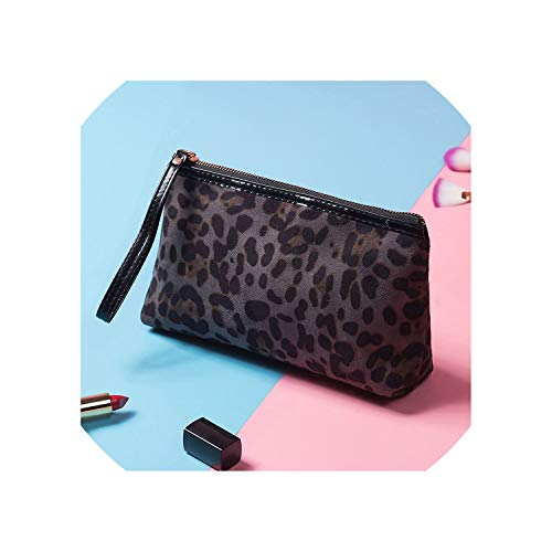Leopard Cosmetic Bag Women Portable Makeup Bags Tote Travel Organizer Toiletry Wash Bag Female Beauty Pouch Purse,gray