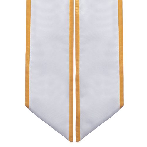 Sash Trim (Graduation Honor Stoles/ Sashes with Angled Cut and Trim (White w/Gold Trim))