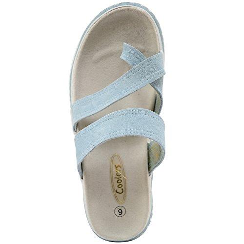 Dames En Cuir Véritable Daim Été / De Vacances / Sandales De Plage / Chaussures Bleu Clair