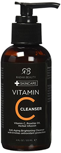 Radha Beauty Vitamin C Facial Cleanser 4 oz - Face wash for Anti Aging & Skin Brightening with Vitamin C, Herbal Infusion, Rosehip Oil