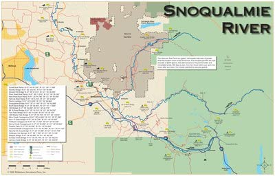 Snoqualmie River 11x17 Fly Fishing Map